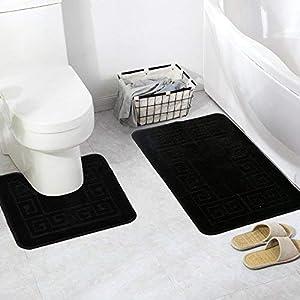 Pauwer Badematten set 2 Teilig Rutschfeste Badematten und WC Vorleger Waschbar Badteppich für Badezimmer (Schwarz)