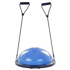 FlowerW Halbkugel Dome Ball 60cm Balance Trainer Balance Hellblau Ball Balance Trainer mit Seitengurten und Ballpumpe Semisphere Balance