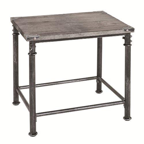 Haku Möbel 27522 Table Basse d'Appoint Acier/Bois Massif de Sapin Noir/Gris Teinte 45 x 37 x 43 cm
