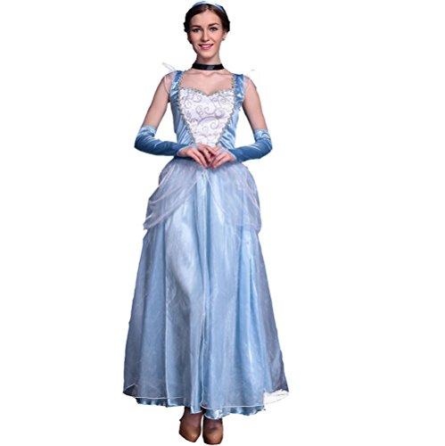 Prinzessin Kostüm Damenkostüm für Karneval Fasching 5 tlg.Verkleidung mit Kopfbedeckung , Halsringe und (Blau Kostüme Erwachsene Belle)