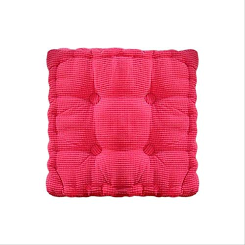 AINIYUE Sitzkissen für Büro, Corn Solid Color Dining Mat, quadratische Kissen Verdickung Office Velvet Pad, für Polster Stuhl Matte 2pcs 45x45cm Rose rot