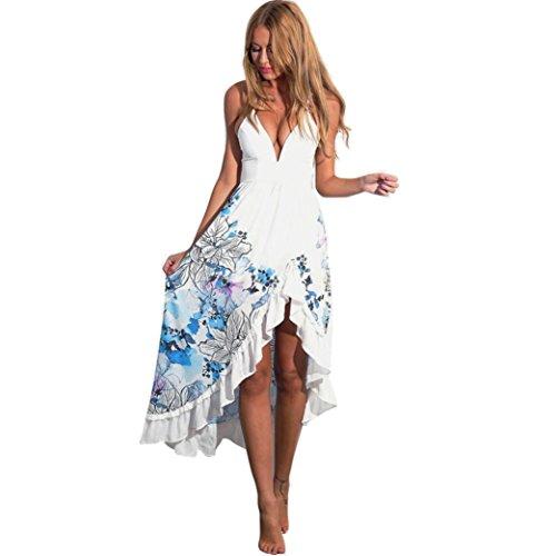 Mujer Verano Elegantes Cuello en V Bohemios Maxi vestido de largo Cóctel de noche moda Vestido de Fiesta Playa Sundress floral Atractivo ropa nuevo barato gran venta (Asiático Tamaño:L, Blanco)