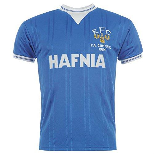 Score Draw Official Retro- Maillot d'Everton de la Finale de la Coupe d'Angleterre de 1984, pour Hommes - Bleu - XL