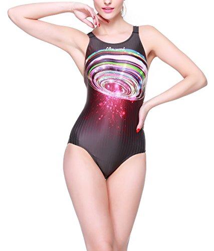 Hysenm Femme Fille Maillot de Bain 1 Pièce Compétition Hydrodynamisme Ultra Élastique cosmos