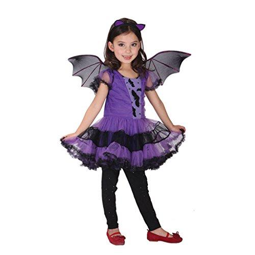 Holloween Vampir Kostüme (GWELL Vampirin Kostüm für Kinder Halloween Weihnachten Party Cosplay Kostüm Mädchen Hexenkleid Körpergröße)
