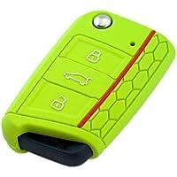 BluePony Skoda Octavia 3 RS - Funda para llave, mando a distancia, estuche llave plegable, color verde manzana