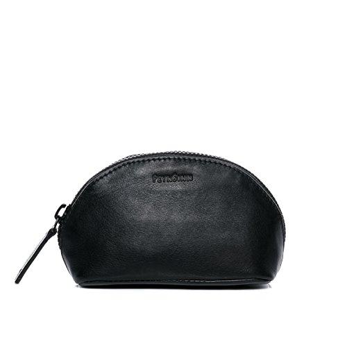 FEYNSINN Kosmetiktasche Leder Karli klein Schminktasche Damen Make-Up Tasche echte Ledertasche Damentasche schwarz