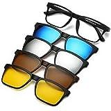 نظارات للجنسين مصنوعة من الإطار الأساسي مع أربع إطارات إضافية ممغنطة بألوان مختلفة تستقطب العدسات الشمسية داخل الحقيبة الجلدي