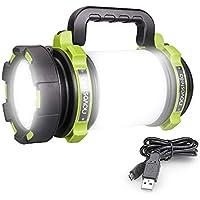 Novostella 1000 Lumens Lanterne LED Rechargeable, Ultra Puissante, 4000mAh Batterie, 4 Modes, Lampe de Camping, Câble USB Inclus, IPX4 Étanche, Spot Pour Randonnée Ustellar