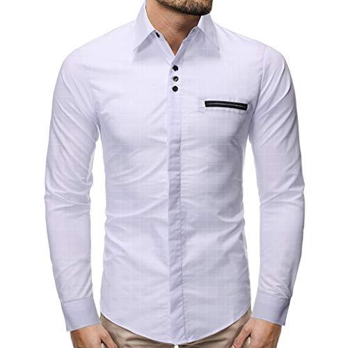 MAWOLY Langarm Revers Volltonfarbe Taste Slim Stretch Print Classic Golf Hemden Herren GeschäFt Freizeit Bequem Leichtgewicht Atmungsaktiv Shirts Formelle Arbeitsgruppe Tops T-Shirts -