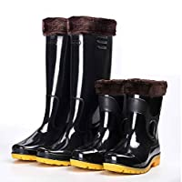 Wellington Boots for Men Mid Calf Rain Boots Waterproof Rubber Boots Anti Slip Festival Wellies Boots Garden Shoes Car Wash Shoes Black Size 5.5-9.5 UK
