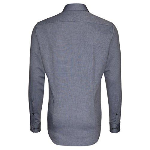 Seidensticker Herren Langarm Hemd Schwarze Rose Slim Fit blau strukturiert mit Patch 242876.35 Blau