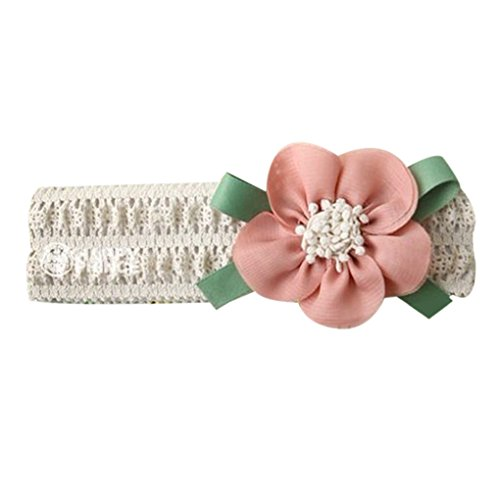 LUFA Baby Girl Stretchy Bandeau Big Flower Lace bébé Hair Band Accessoires cheveux Rose clair Rose