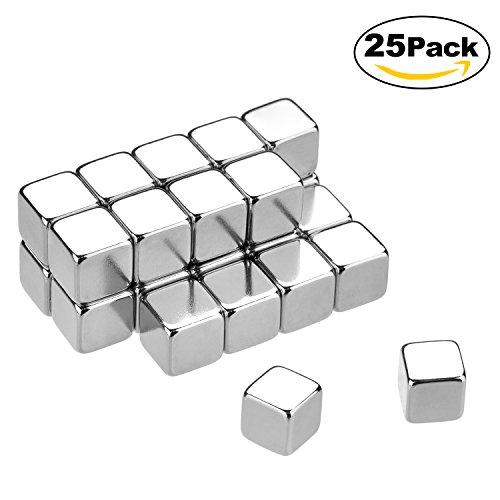 Lynlon Neodym-Super-Magnete Würfel 8 x 8 x 8 mm [25 Stücke] Sehr starke Magnete für Glas-Magnetboards, Magnettafel, Whiteboard, Tafel, Pinnwand, Kühlschrank, und vieles mehr