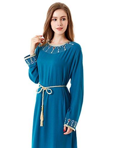 vetement femme musulmane / muslima abaya robe islamique Caftan brodé jalabiya rayonne dubai maxi dress longue 1623 Vert