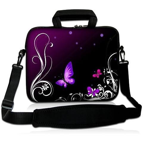 Luxburg® Design Custodia Borsa a tracolla per Notebook Laptop PC portatile Macbook 12,1 pollici, motivo: Farfalle lilla