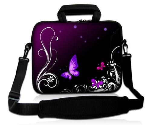Luxburg® Design Funda bandolera Blanda Bolso Sleeve para Ordenador Portátil/MacBook de 15,6 pulgadas, motivo: Mariposa lila