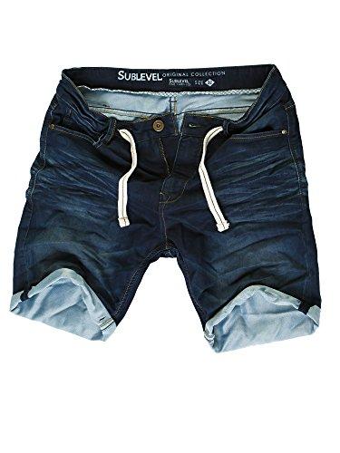 Sublevel Herren Jogg Jeans Shorts kurze Hose Bermuda Denim Sweatpants Joggjeans Vintage Used Look (Dark Blue - H-60688/KD147, W30)