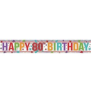 amscan 9900970 - Pancarta holográfica de 2,7 m con Texto en inglés Happy 80th Birthday