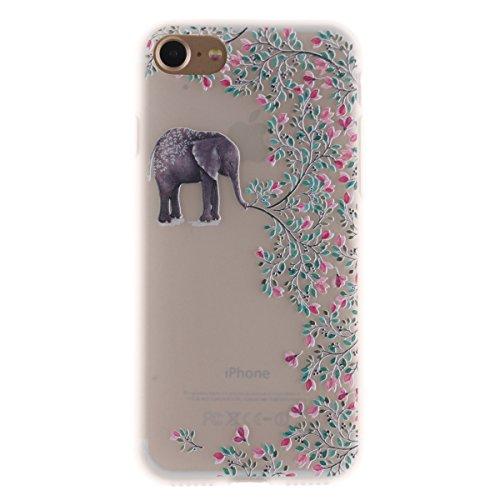 iPhone 7 Hülle,TPU Silikon Defender für iPhone 7,Ekakashop Bunte Campanula Muster Ultra dünn Slim Transparent Flexible Gel Crystal Klar Case Protective Schutzhülle Durchsichtig mit Niedliche Cartoon f Elefant Blume