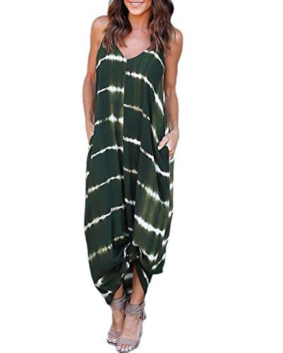 VONDA Damen V-Ausschnitt Split Maxikleid Causal Lang Sommerkleid Strandkleid