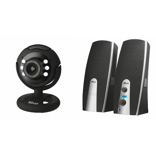 Trust SpotLight Webcam Pro con Risoluzione 1280 x 1024 e luci LED + Set Altoparlanti 2.0, Nero
