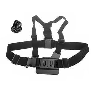 Goliton® Elastic Chest Strap Mount Belt Camera Chest band with Tripod Mount Adapter Kit for Gopro Hero4/3+/3/2/1- Black