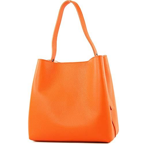 modamoda de - T188 - ital. Henkeltasche Shopper aus Leder, Farbe:Orange -