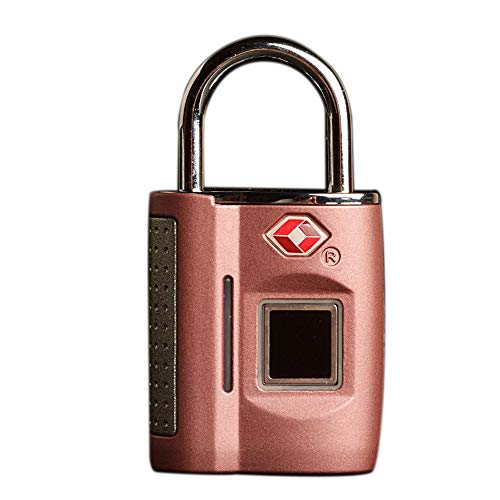 AMZ BCS TSA Gepäck Lock Fingerprint Padlock Finger Touch Rucksack Anti Theft Travel Case Digit Combination Lock Smart Storage Locker Waterproof Long Standby USB Charging,Pink -