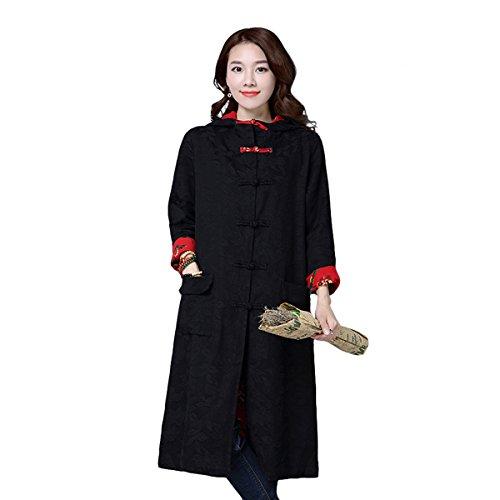 VENIMASE 2017 Frauen Traditionellen Folk Stil Kragen Schnalle Druck Strickjacke Mit Kapuze Warme Lange Mantel Jacke (M-2XL) (Chinesische Bekleidung)