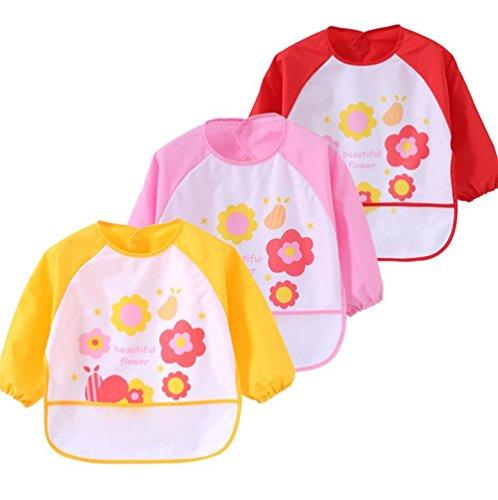 Set 3 unisex bebes baberos impermeable mangas bolsillo