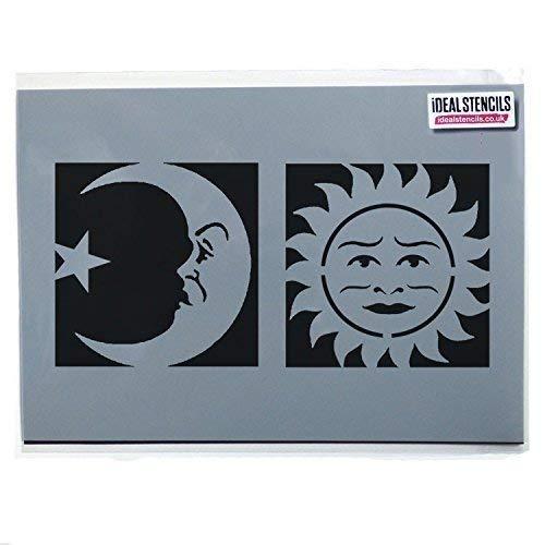 Celestial Sonne & Mond Gesicht Schablonen Halloween Ouija Board Symbole Dekoration Kunsthandwerk - halb transparent Schablone, XS Symbols 8x8cm