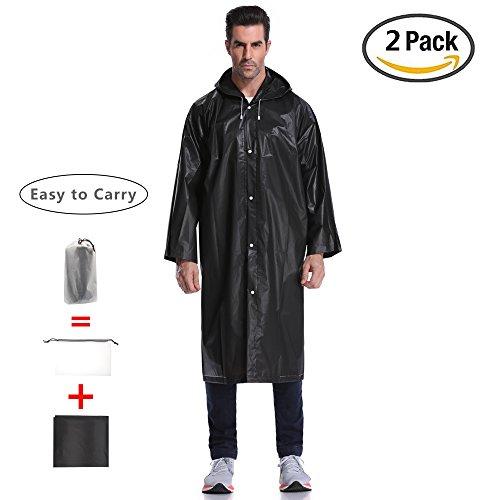 Regenjacken Wiederverwendbar Regenponcho, Umweltfreundliche EVA Regenmantel, Wasserdicht Regenjacke mit Aufbewahrungstasche für Regenschutz - By EnergeticSky™ (Schwarz-2 Pack)