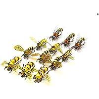 YZD moscas realistas para pesca con mosca, set de mosquitos secos para moscas, avispas, trucha arcoíris, señuelo de pesca hecho a mano, 3-Realistic Bumble Bee&Wasp Set of 12 Flies