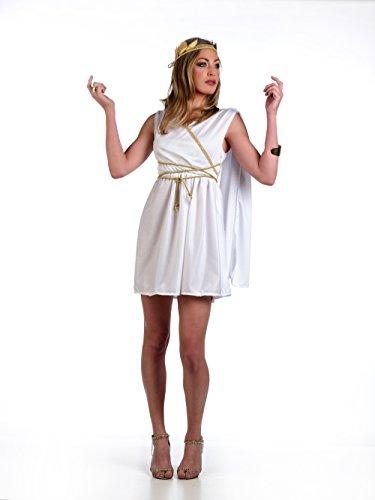Womens Göttin Römischen Kostüm (Karneval Damen Kostüm Römische Göttin kurzes Kleid mit Scherpe, Kordel und Kopfschmuck Minikleid -)