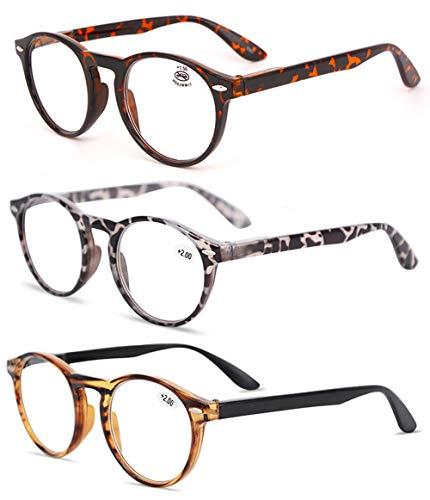 KOOSUFA Lesebrille Herren Damen Retro Runde Nerdbrille Lesehilfen Sehhilfe Federscharniere Vollrandbrille Anti Müdigkeit Brille mit Stärke 1.0 1.5 2.0 2.5 3.0 3.5 4.0 (Leopard+grau+braun, 2.0) - Leopard 4