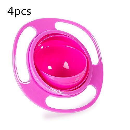 Boomder Lustige Kinder Kind Baby Spielzeug 360 Drehen Spill-Proof Schüssel Gerichte Mit Deckel (4 stücke) Verbrauchsmaterial (Farbe : Rosa) -