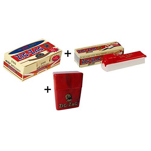 "ZIG-ZAG® mini \""Starterset\"" + ☼ (Zigarettenhülsen+Stopfmaschine+Zigarettenbox)"