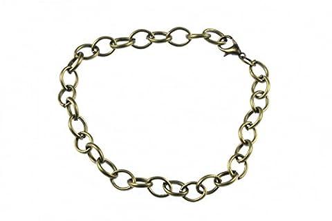 Charm pour bracelet Wristlet pendantes Base Bracelet Wristlet pour bracelets charms Bracelet Wristlet pendantes Miniblings Boucle d'oreille ovale Petite Bronze