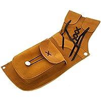 Tiro con arco tradicional ante piel lado Quiver. (color marrón oscuro para mano derecha y amarillo para la mano izquierda)., amarillo