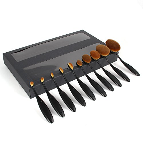 Make up Pinsel 10pcs Oval Beauty Black Pinselset Toothbrush Elite Make-up Brushes Set Pinsel Powder Foundation Contour Makeup Brush Set with Case (Up Kits Große Make)