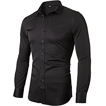 INFLATION Mens Bamboo Dress Shirt Slim Fit Long Sleeve Elastic Formal Shirt Casual Solid Button Down Shirts for Men, Black, Size XXS