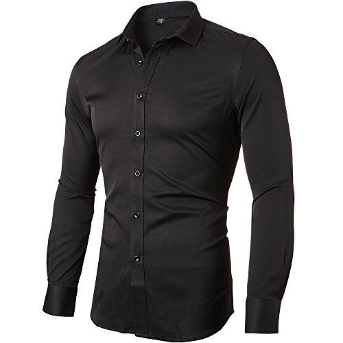 INFLATION Camicia Elastica Uomo, Manica Lunga, Slim Fit, Casual/Formale Sia Disponibile, più Colori tra Cui Scegliere, Nero, Petto 104CM, Manica 85CM