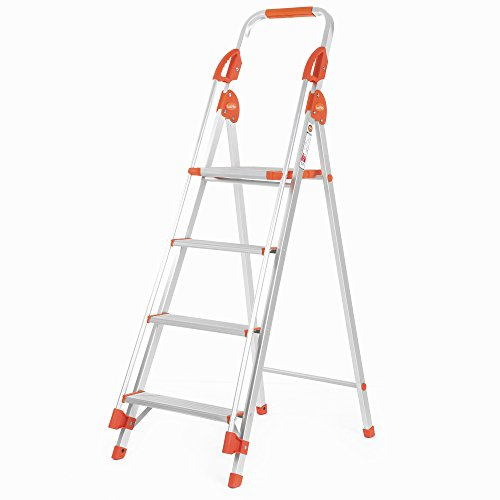 Bathla Zenith 4-Step Foldable Aluminium Ladder with Hand Rails & Safety Grips