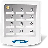 Novoferm Funktaster Signal 218 | Taster UV-Beständig; Drucktaster für 10 Codes; Tastfeld beleuchtet; Edelstahl; Wechselcode; 433 Mhz; Weiß; Knopfzelle enthalten)