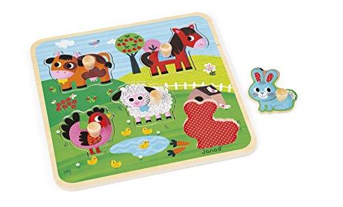 Janod - J07065 - Puzzle Bois Ferme du Bonheur 5 pcs
