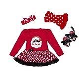 YuanDian Baby Mädchen 4tlg Kleid Weihnachten Bekleidung Set Neugeborenes Outfit Kleinkind Weihnachtskostüm Strampler Kleid + Stirnband + Beinwärmer + Schuhe Babykleidung 2# Weihnachtsmann A 0-3 Monate