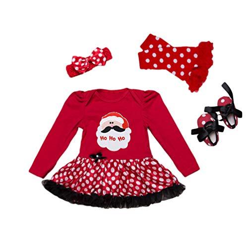 YuanDian Baby Mädchen 4tlg Kleid Weihnachten Bekleidung Neugeborenes Outfit Kleinkind Weihnachtskostüm Strampler Kleid + Stirnband + Beinwärmer + Schuhe Babykleidung 2# Weihnachtsmann A 12-24 Monate