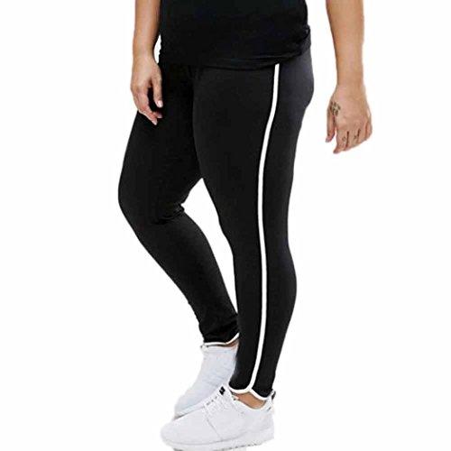 Leggings Damen, ABsolute Damen Spleißen Leggings Plus Size Sport Hosen Block Mesh Elastische Hosen (XL, Schwarz) (Plus Size Workout Hose)