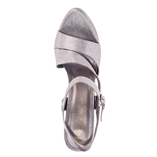 Andres Machado AM5157.Sandales en Soft. Petites et Grandes Pointures 32/35 et 42/45. Argent